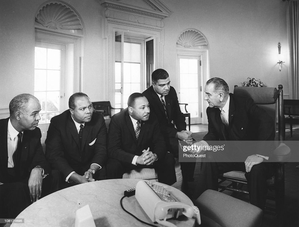 In the White House, US President <a gi-track='captionPersonalityLinkClicked' href=/galleries/search?phrase=Lyndon+Johnson&family=editorial&specificpeople=91450 ng-click='$event.stopPropagation()'>Lyndon Johnson</a> (1908 - 1973) meets with Civil Rights leaders, from left, National Association for the Advancement of Colored People (NAACP) Executive Secretary <a gi-track='captionPersonalityLinkClicked' href=/galleries/search?phrase=Roy+Wilkins&family=editorial&specificpeople=94024 ng-click='$event.stopPropagation()'>Roy Wilkins</a> (1901 - 1981), co-founder of the Committee of Racial Equality (CORE) James L. Farmer Jr (1920 - 1999), President of the Southern Leadership Conference Dr. Martin Luther King Jr (1929 - 1968), and Executive Director of National Urban League Whitney Young (1912 - 1971), Washington DC, January 28, 1964.