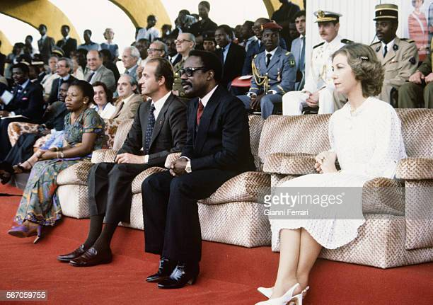In their official trip to Gabon the Spanish Kings Juan Carlos of Borbon and Sofia of Greece are greeted at the airport of Libreville by the Congolese...