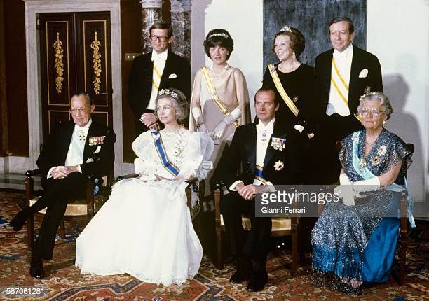 In their official trip to Holland the Spanish King Juan Carlos of Borbon and Sofia of Greece with the Dutch Queen Juliana with her husband Bernardo...