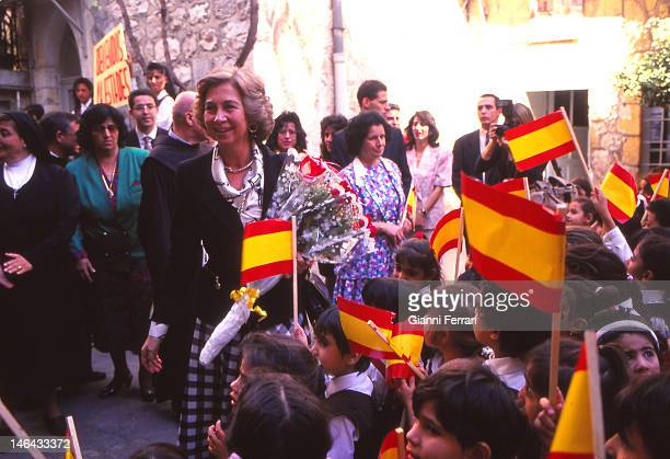 In their official visit to Israel the Spanish Kings at the Spanish School 'Nuestra Senora del Pilar' 9th November 1993 Jersusalem Israel