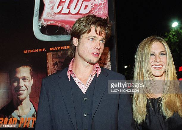 In this 06 October 1999 file photo US actor Brad Pitt arrives at the premiere of his new film 'Fight Club' with Jennifer Aniston in Los Angeles...