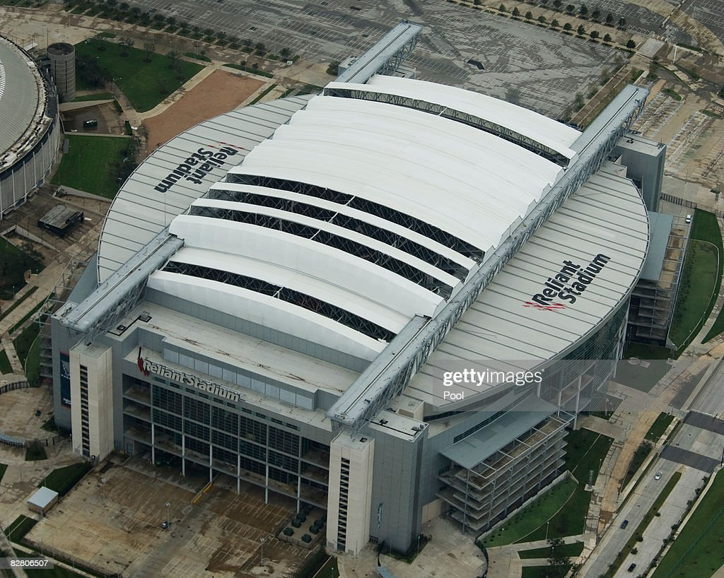 In this aeirial photo the roof of Reliant Stadium home of the NFL's Houston Texans is shown damaged by Hurricane Ike in this aerial view September 13...