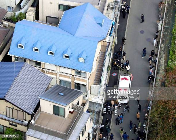 In this aerail image an apartment building where the severed body parts of nine people were found is seen on October 31 2017 in Zama Kanagawa Japan A...