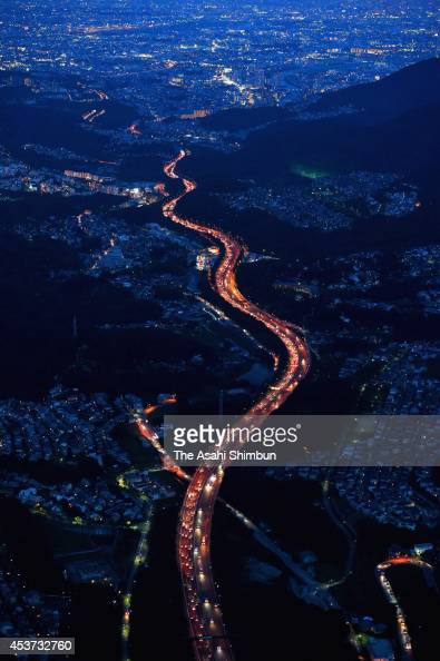 In this aerial image 15 kilometers tailback is seen at the Chugoku Expressway heading to Osaka on August 17 2014 in Nishinomiya Hyogo Japan A holiday...