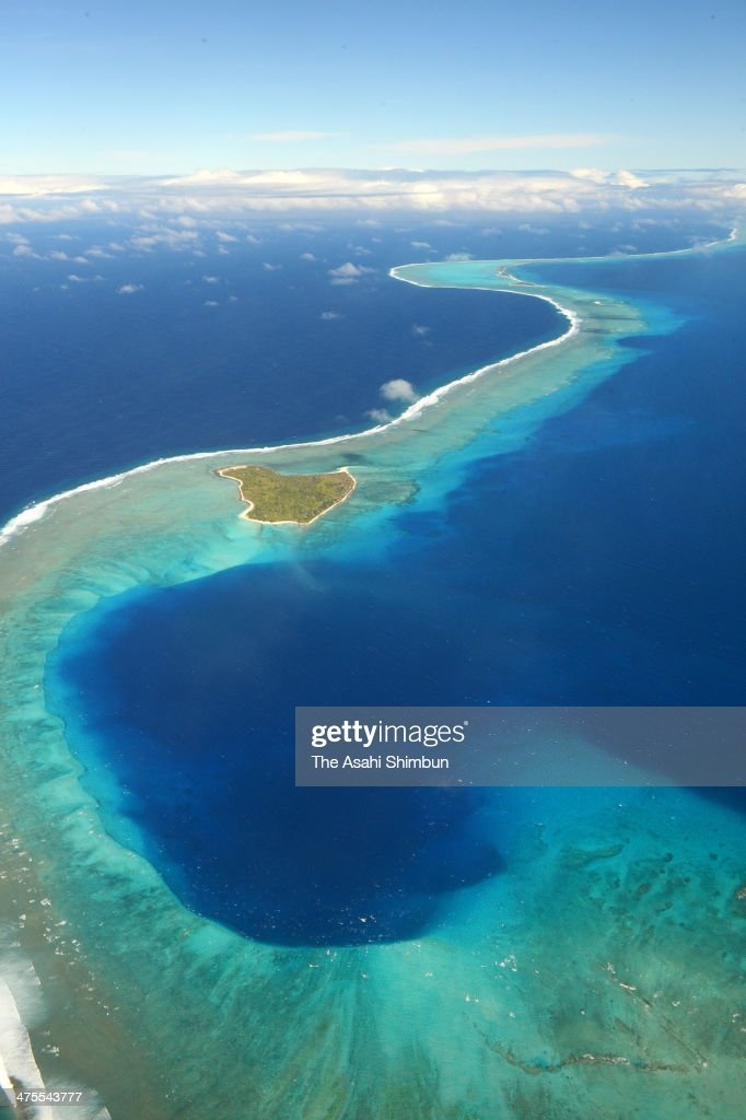 In this aerial image 80meterdeep Bravo Crater is seen on January 27 2014 in Bikini Atoll Marchall Islands The crater was created on March 1 when a...