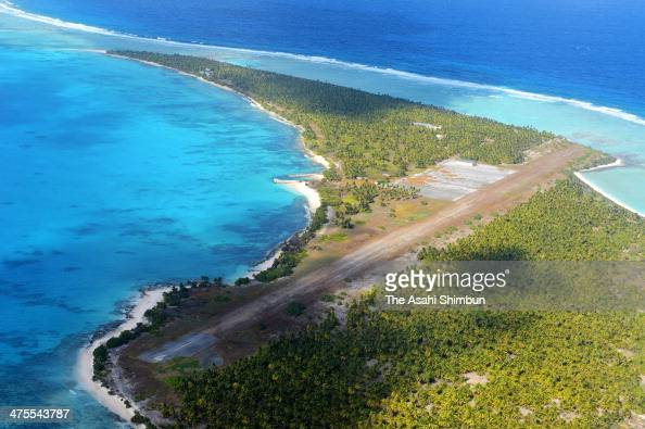 In this aerial image a former runway of an airport is seen on Janaury 27 2014 in Enyu Marchall Islands The airport had been in operation for...