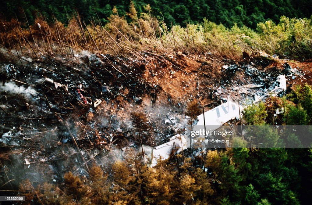 In this aerial image A primary wing of JAL 123 is seen at the ridge of Mount Osutaka on August 13 1985 in Ueno Gunma Japan Japan Airlines flight 123...