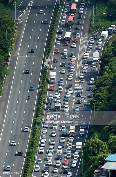 In this aerial image a traffic jam is seen at the Tomei Expressway as the summer 'Bon' holiday season begins on August 13 2014 in Yokohama Kanagawa...