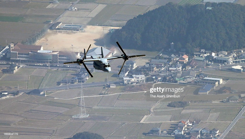 In this aerial image, an U.S. Marines' MV-22 Osprey aircraft is seen conducting first ever low altitude flight training over Japanese mainland, while safety concerns still remain on March 6, 2013 in Saijo, Ehime, Japan. The U.S. operates the first exercise in Japan's main islands.