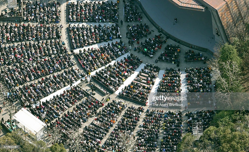 In this aerial image, anti-nuclear protesters gather at Hibiya Yagai Ongakudo Hall before marching on to the Diet building on March 9, 2014 in Tokyo, Japan. On March 11 Japan commemorates the third anniversary of the magnitude 9.0 earthquake and tsunami.