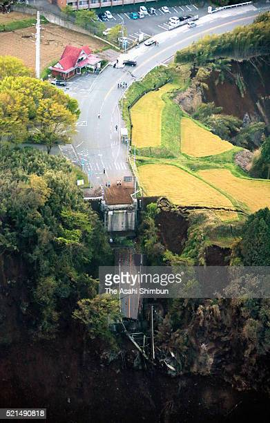 In this aerial image Aso Ohashi Bridge is washed away by a landslide on April 16 2016 in Minamiaso Kumamoto Japan The magnitude 73 earthquake hit...