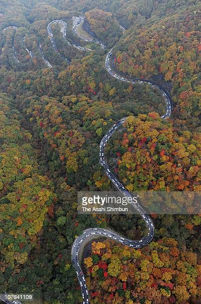 In this aerial image cars are seen queuing at Irohazaka road on October 18 2009 in Nikko Tochigi Japan