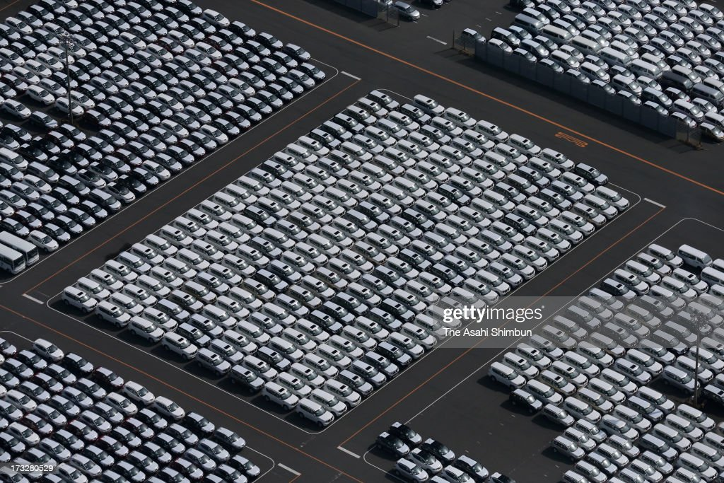 In this aerial image, cars waiting for export, are arranged at Nissan Motor Co Kyushu Factory on April 24, 2013 in Kanda, Fukuoka, Japan.