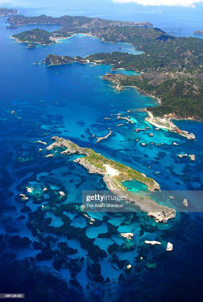 In this aerial image Chichijima island of the Ogasawara Island chain is seen on January 27 2007 in Ogasawara Tokyo Japan