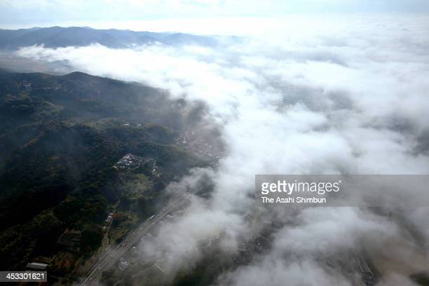 In this aerial image Chikugo plain in Kurume City of Fukuoka is covered by dense fog on December 2 2013 in Tosu Saga Japan