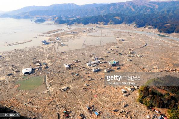 In this aerial image completely ruined Rikuzentakata city is seen after an 90 magnitude strong earthquake struck on March 11 off the coast of...