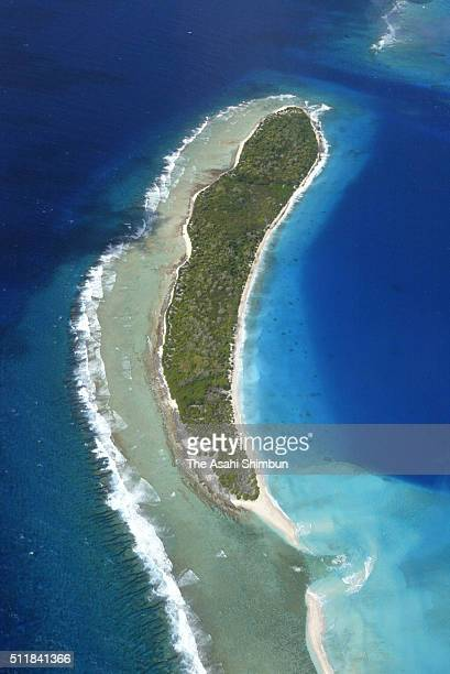 In this aerial image Enewetak Atoll is seen on February 28 2004 in Enewetak Atoll Marshall Islands
