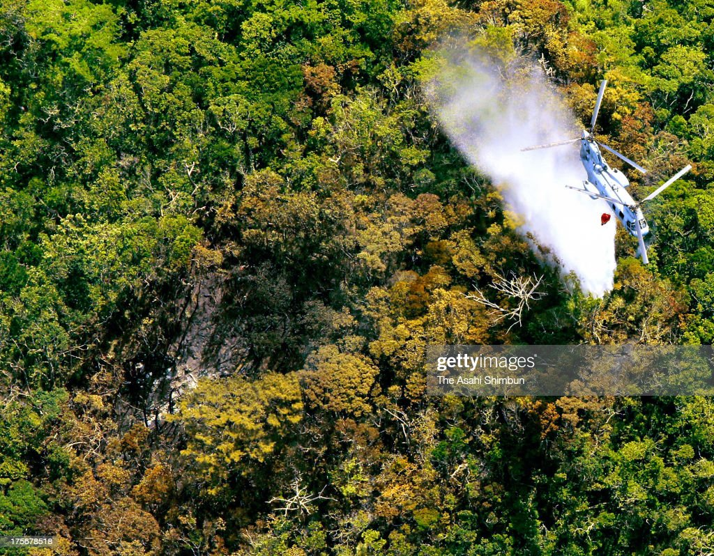 In this aerial image, firefighting continues by a U.S. military helicopter after a U.S. helicopter crashed in the mountain on August 6, 2013 in Ginoza, Okinawa, Japan. The helicopter, reported as HH-60 rescue helicopter, by U.S. forces crashed in the premises of Camp Hansen, Japanese Defense Ministry was informed three of crews were confirmed safe.