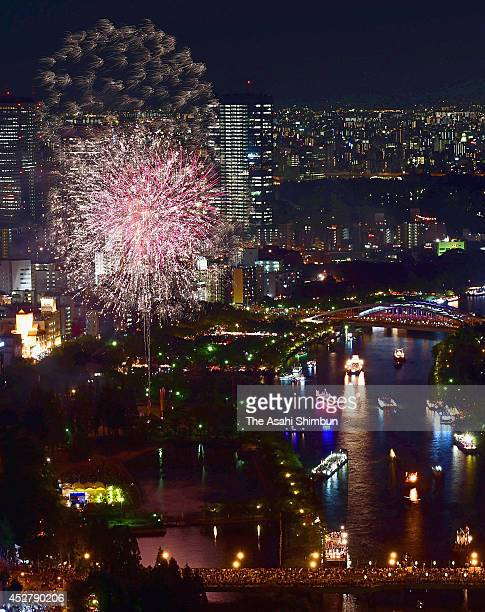 In this aerial image fireworks explode during the Osaka Tenjin Festival on July 25 2014 in Osaka Japan