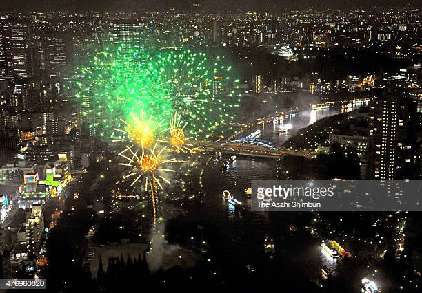 In this aerial image fireworks explode during the Tenjin Festival on July 25 2011 in Osaka Japan