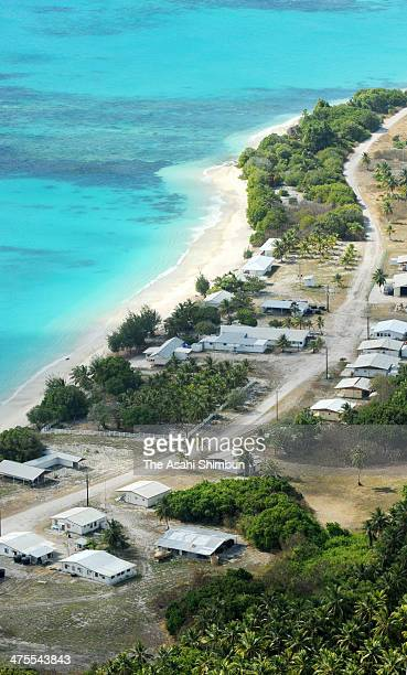 In this aerial image general view of an island is seen on January 28 2014 in Marchall Islands Most of houses stand empty The US conducted 67 tests of...