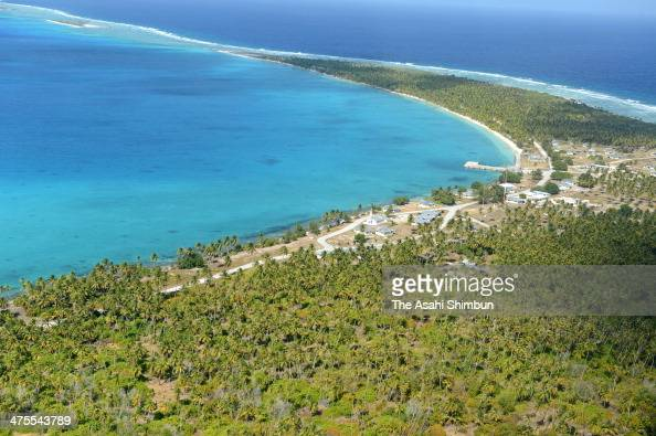 In this aerial image general view of the Rongelap Island 180km east from Bikini Atoll is seen on January 28 2014 in Rongelap Marchall Islands The...