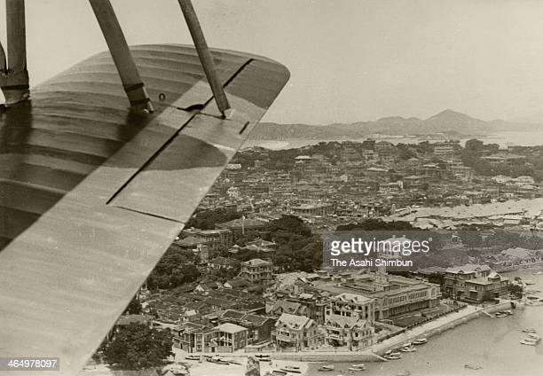 In this aerial image Gulangyu Island is seen from Japanese Navy plane on August 2 1939 in Xiamen China
