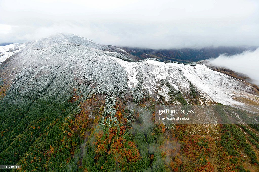In this aerial image, Hachibuse Highland is covered with the first snow of the season on November 12, 2013 in Yabu, Hyogo, Japan. A typical winter pressure pattern causes snowfall at Sea of Japan side, Tokyo was the coldest day of this autumn.
