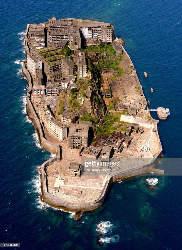 In this aerial image, Hashima Island, as know as 'Warship Island' is seen on April 19, 2013 in Nagasaki, Japan.