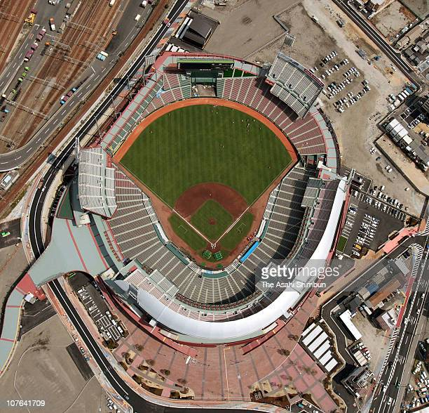 In this aerial image Hiroshima Toyo Carp's new stadium is seen on March 26 2009 in Hiroshima Japan