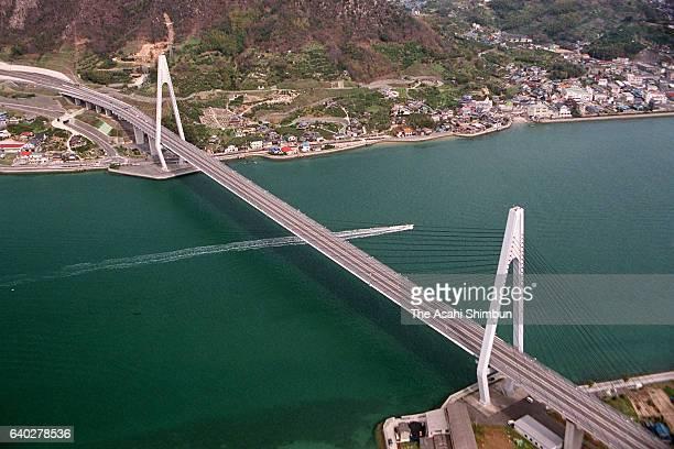 In this aerial image Ikuchi Bashi Bridge of Shimanami Kaido Expressway is seen on April 3 1999 in Setoda Hiroshima Japan