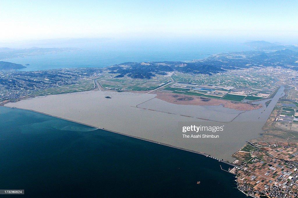 In this aerial image, Isahaya Bay is seen on April 7, 2012 in Isahaya, Nagasaki, Japan.