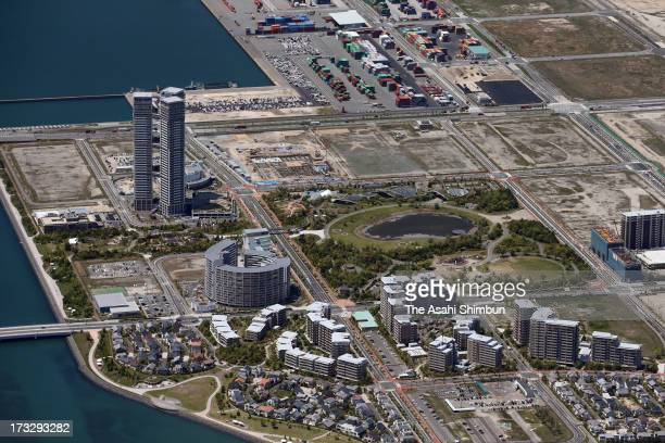 In this aerial image Island City is seen on May 2 2013 in Fukuoka Japan