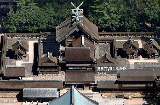 In this aerial image Izumo Taisha is seen on October 6 2005 in Izumo Shimane Japan
