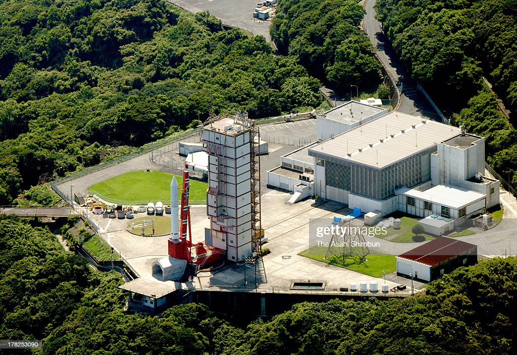 In this aerial image, Japan Aerospace Exploration Agency (JAXA)'s Epsilon Vehicle (Epsilon-1) remains on the launch pad after the scheduled lift off time at the JAXA Uchinoura Space Center on August 27, 2013 in Kimotsuki, Kagoshima, Japan. JAXA postponed 19 seconds before the launch, let down 10,000 suectators. JAXA is planning to relaunch after detecting the cause of the irregularity.