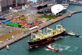 In this aerial image Japan's research whaling fleet 'Nisshin Maru' arrives at Shimonoseki Port on April 5 2014 in Shimonoseki Yamaguchi Japan...