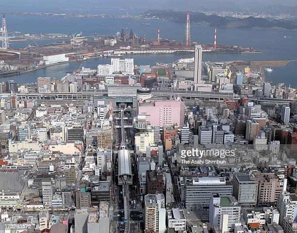 In this aerial image JR Kokura station and Kokura area are seen on January 31 2012 in Kitakyushu Fukuoka Japan
