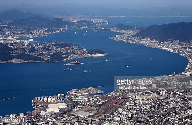 In this aerial image Kanmon Strait is seen on February 14 2015 in Kitakyushu Fukuoka Japan