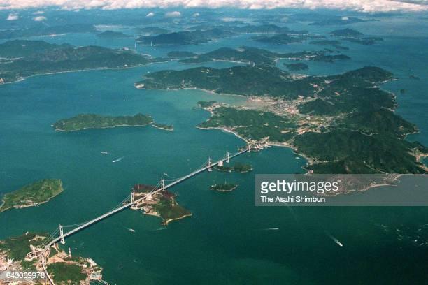 In this aerial image Kurushima Ohashi Bridge is seen on October 18 1998 in Imabari Ehime Japan