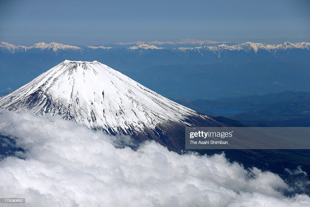 In this aerial image, Mount Fuji and South Alps mountains are seen on May 17, 2013 in Shizuoka, Japan.