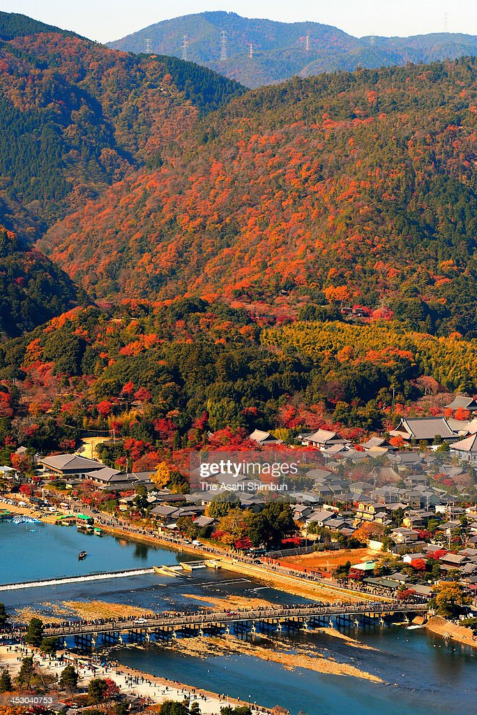 In this aerial image, mountain of Arashiyama, famous tourist destination in Kyoto, in autumn colours on November 30, 2013 in Kyoto, Japan.