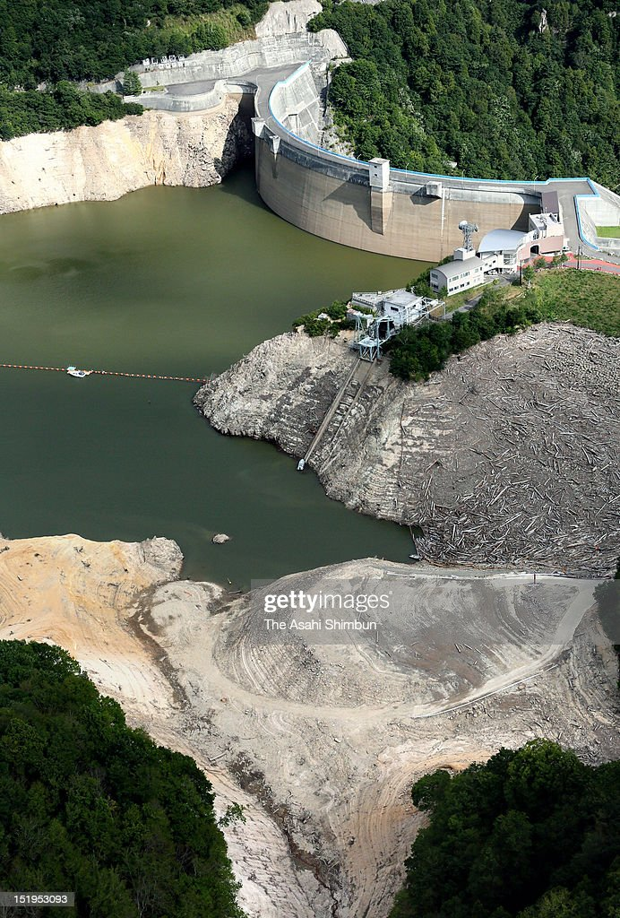 In this aerial image, nearly drought Yagisawa Dam is seen on September 1, 2012 in Minakami, Gunma, Japan. Water volume at Yagisawa Dam that supplies water to 12 million living in Greater Tokyo Area has dropped to 6 percent, with the lake dried up to the bottom.