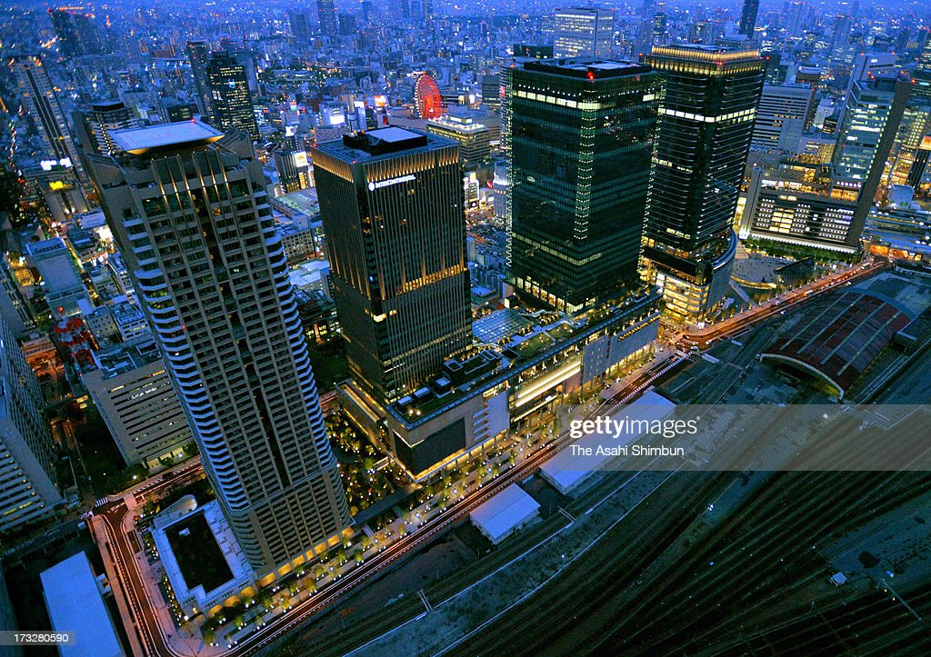 In this aerial image, nightscape of Osaka Grand Front is seen on April 26, 2013 in Osaka, Japan.