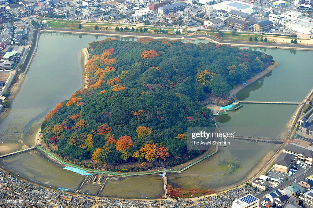 In this aerial image, Nisanzai ancient tomb is seen on November 30, 2012 in Sakai, Osaka, Japan. The keyhole-shaped tomb was built in latter part of the fith century and might have been more than 10 meters bigger than it is, according to the new research by the Imperial Household Agency and Sakai City.