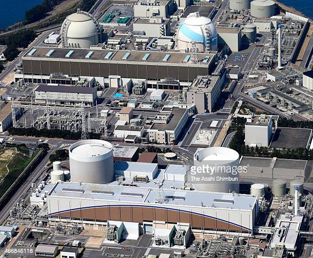 In this aerial image No1 reactor of Kyushu Electric Power Co's Genkai Nuclear Power Plant is seen on March 17 2015 in Genkai Saga Japan