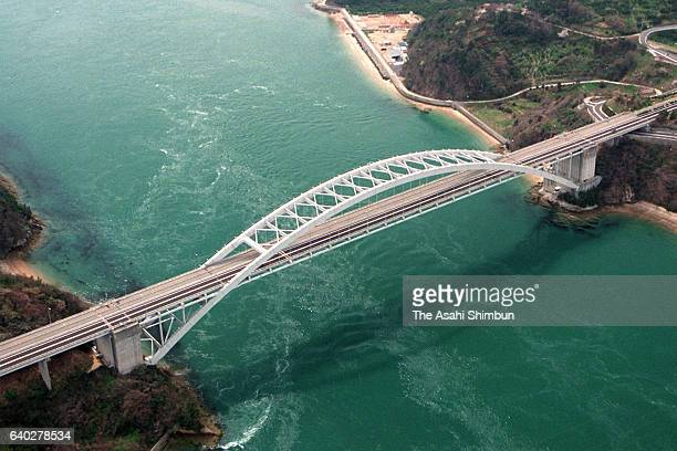 In this aerial image Omishima Bashi Bridge of Shimanami Kaido Expressway is seen on April 3 1999 in Kamishima Ehime Japan