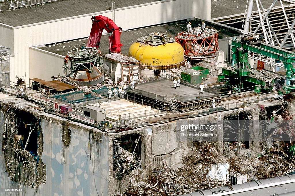 In this aerial image, orkers continue the repair work at the fourth reactor of the Fukushima Daiichi nuclear power plant on July 23, 2012 in Futaba, Fukushima, Japan. The government panel looking into last year's accident pointed to a lack of a 'safety culture' at both Tokyo Electric Power Co. and the central government.