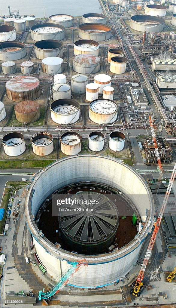 In this aerial image, Osaka Gas Co Ltd's world's biggest liquefied natural gas (LNG) tank is under construction on July 24, 2013 in Sakai, Osaka, Japan. The inside-diameter of 87 meters, 60 meters tall tank can store 230,000 kilolitres of LNG, equivalent of 330,000 households annual consumption, aims to start operation in winter 2015.