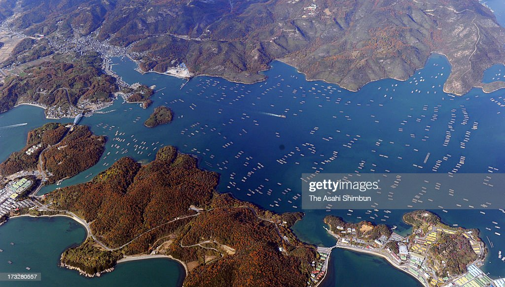 In this aerial image, oyster farming boats are seen at Seto Inland Sea on November 28, 2012 in Setouchi, Okayama, Japan.