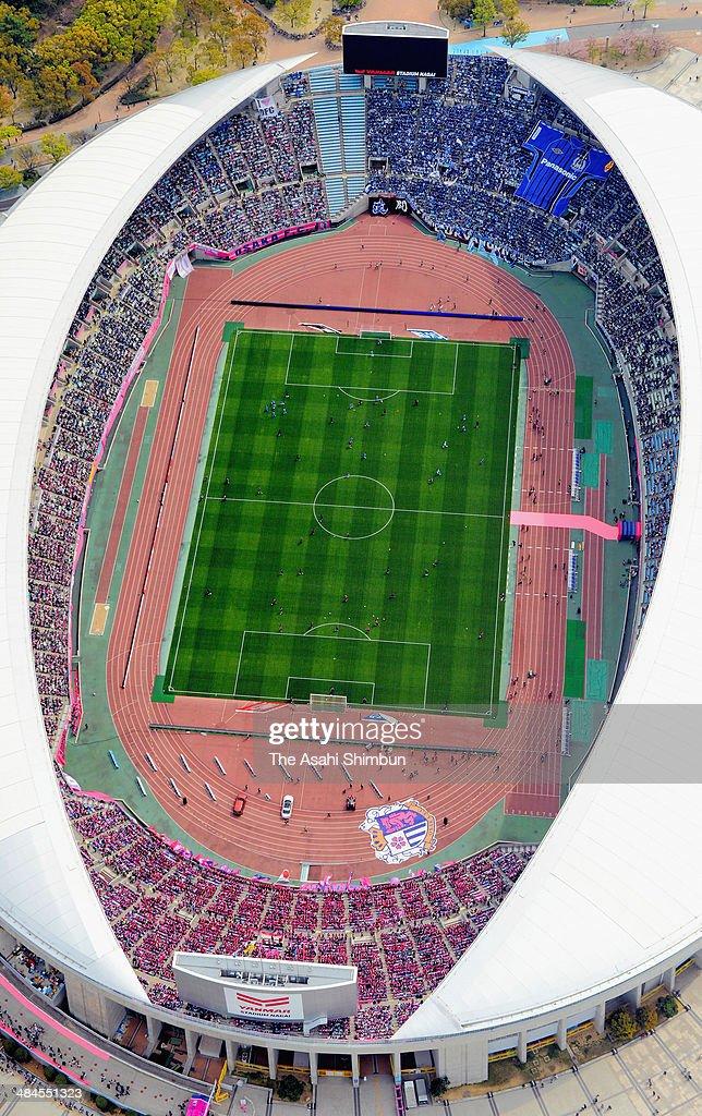 In this aerial image, packed Nagai Stadium is seen during the J.League match between Cerezo Osaka and Gamba Osaka at Nagai Stadium on April 12, 2014 in Osaka, Japan.